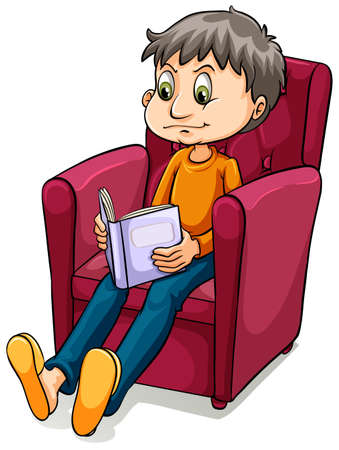 studious: Boy sitting at the chair while reading on a white background