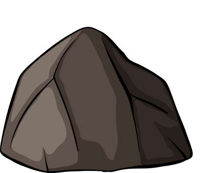 One grey rock on a white background Illustration