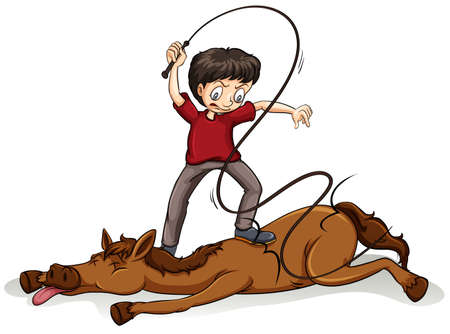 stronger: Man beating the horse with a rope on a white background