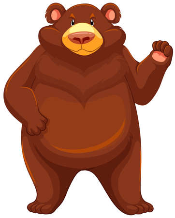 one panda: One big brown bear on a white background Illustration