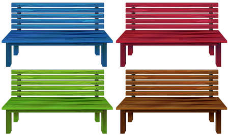 smooth legs: Four colourful wooden chairs on a white background Illustration