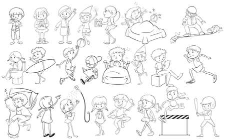 engaging: Doodle design of people engaging in different activities on a white background