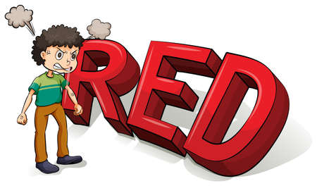 capitalized: Angry boy beside the big red letters on a white background