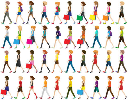 many coloured: Group of faceless people walking on a white background