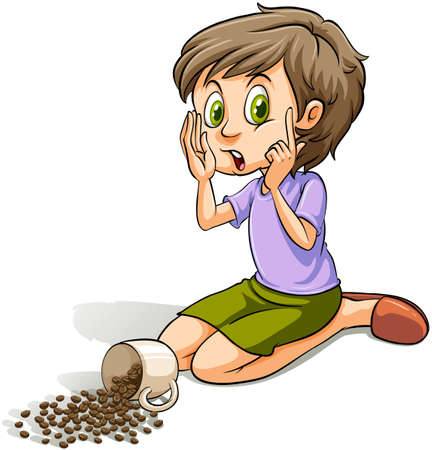 spilt: Young girl spilling the cup of beans on a white background Illustration