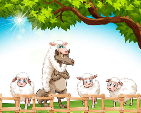 Group of sheeps with a wolf at the field Stock Illustratie