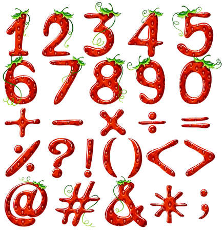 Strawberry designed numerical figures on a white background Vector