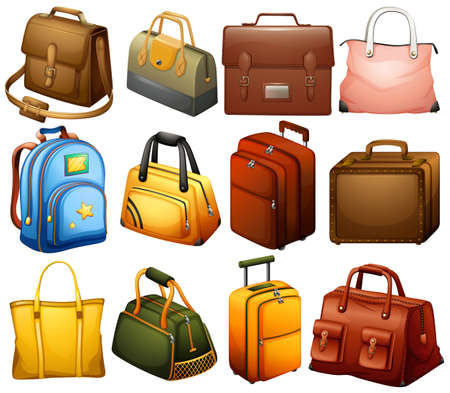 leather background: Collection of different bags on a white background