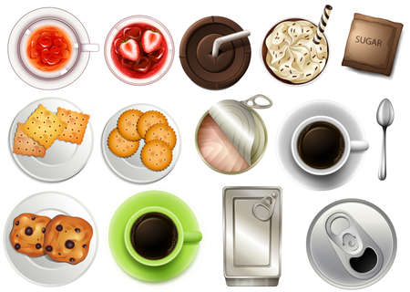 stimulant: Top view of the different drinks and beverages on a white background