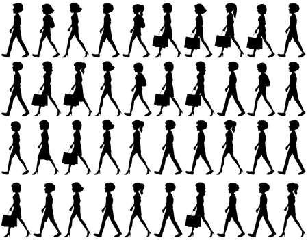 black people: Silhouette of black people walking on a white background