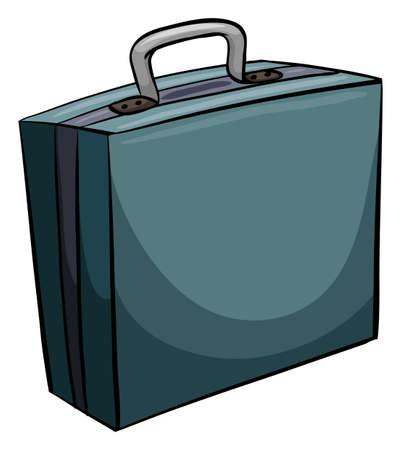 attache: One blue attache case on a white background