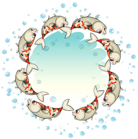 ectothermic: School of fishes forming a circle on a white background Illustration