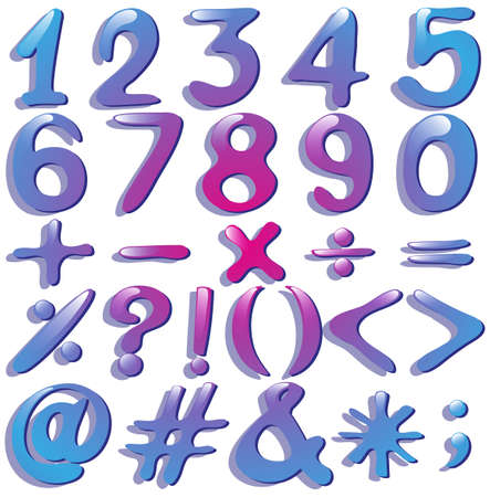numerical: Numerical figures in violet shades on a white background Illustration