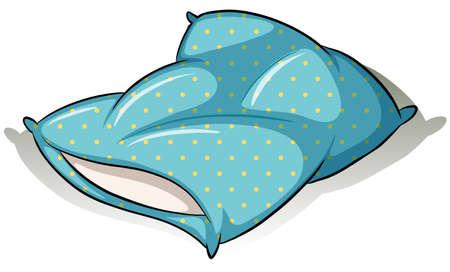 stuffing: Blue polkadot pillow on a white background Illustration