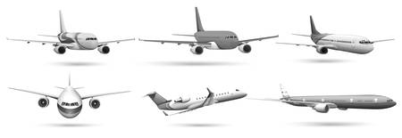 Set of planes in grayscale Vector