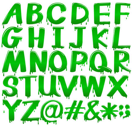 letter c: Capital letters of the alphabet in a melting green template on a white background