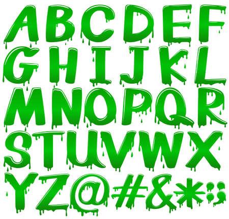 lettre alphabet: Les lettres majuscules de l'alphabet dans un modèle vert fondre sur un fond blanc