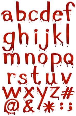 Small letters of the alphabet in bloody template on a white background Illustration