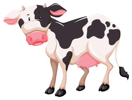 dung: One milking animal on a white background Illustration