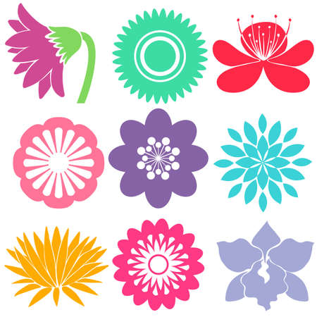 many coloured: Nine colorful floral templates on a white background