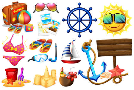 wavelengths: Set of things ideal for a beach outing on a white background