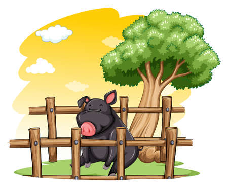 Pig inside the wooden fence on a white background