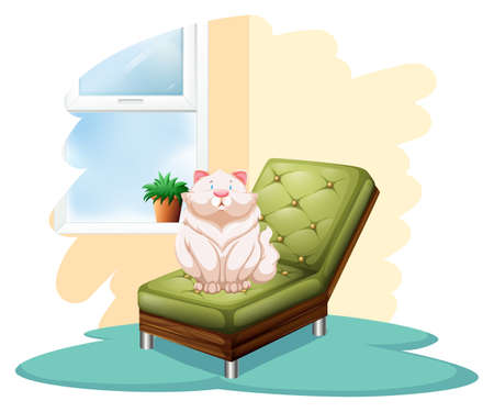 retractable: Cat above the green chair on a white background
