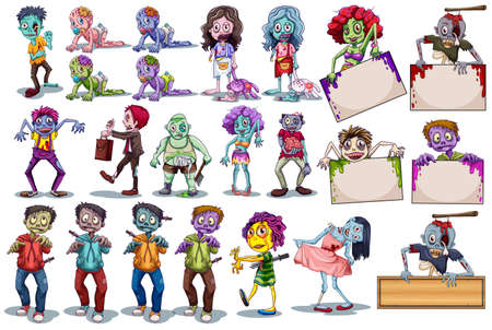 woman walk: Characters of funny zombies illustration