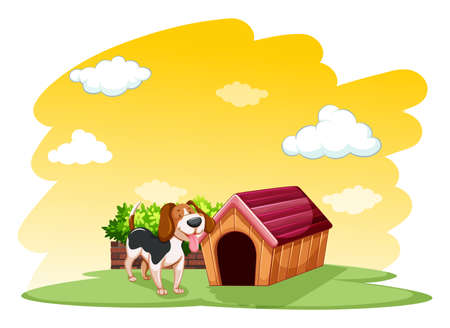 housepet: Puppy outside the wooden doghouse on a white background
