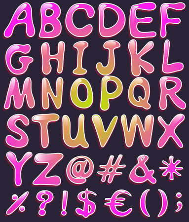 capitalized: Big letters of the alphabet in pink color