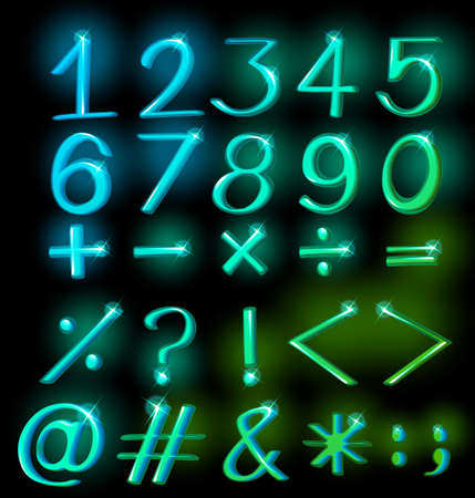 subtraction: Numerical figures in sparkling neon colors Illustration
