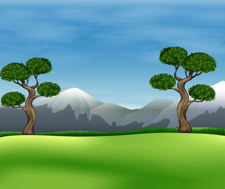 endpoint: Beautiful view of the green field under the clear blue sky Illustration