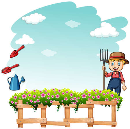 loosening: Happy farmer at the garden on a white background