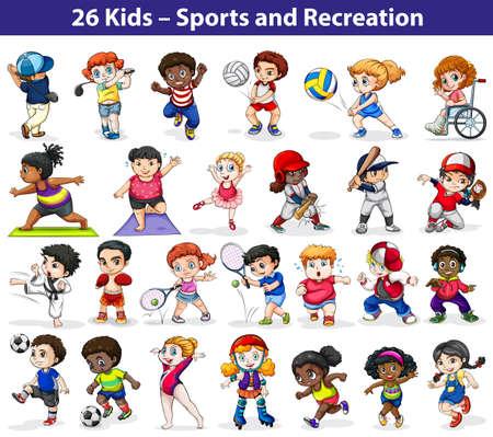 actividades recreativas: Los niños que participan en las diferentes actividades de interior y al aire libre sobre un fondo blanco Vectores