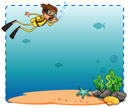 Underwater creature and diver frame on white background Vector