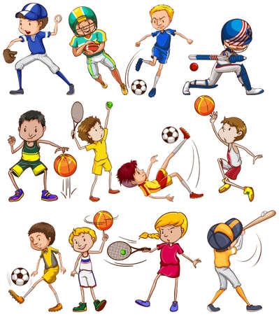 Conjunto de los niños que juegan diferentes tipos de deportes Ilustración de vector