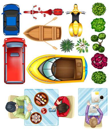 Birdeye vista de vehículos, plantas y personas en la mesa sobre un fondo blanco Ilustración de vector