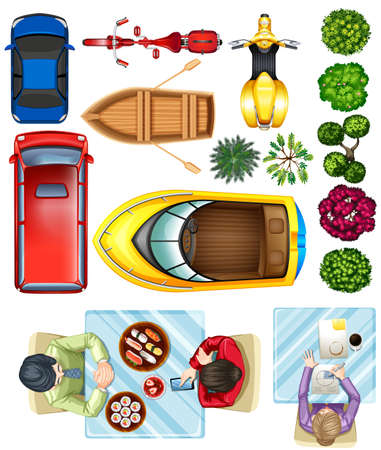 Birdeye view of vehicles, plants and people at the table on a white background