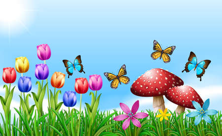 shinning: Spring season with flowers and butterflies Illustration