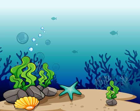 seaweeds: View of a deep sea Illustration