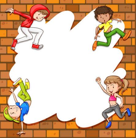 Children in playing posture frame Illustration