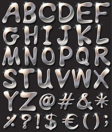 silver: Silver coloured letters of the alphabet
