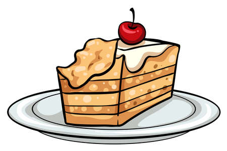 eaten: Plate with a slice of cake on a white background