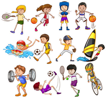 surf team: Set of children playing different kinds of sports Illustration