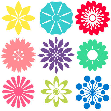 yelow: Different flowers shape designs of white background