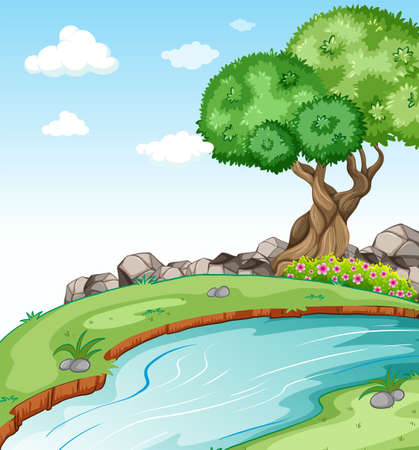 flowing river: Scenery with a flowing river Illustration