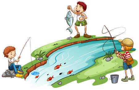 Tre ragazzi di pesca su uno sfondo bianco