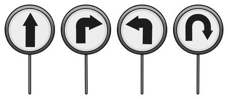 pointed arrows: Four road signages on a white background