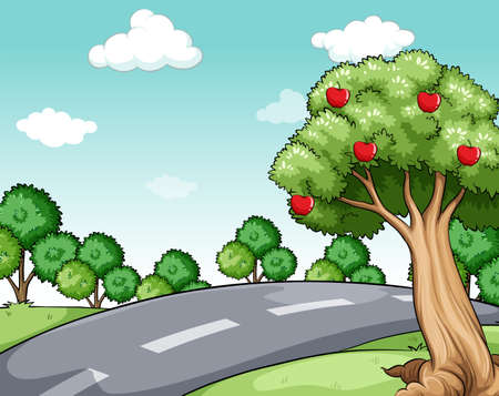 sides: Scenery of a road with treeson the sides