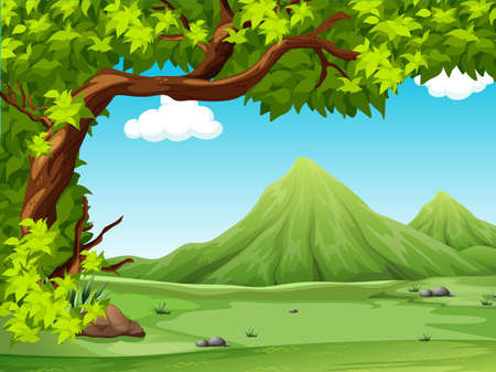 forest clipart: Poster of a scenery view illustration